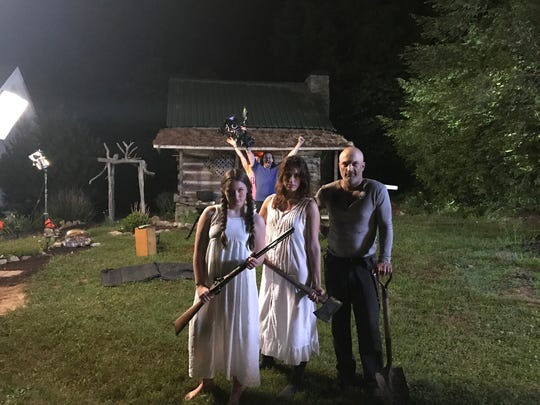 "Actors and crew on the set of locally made film ""Papa"". From left are Ava Culpepper, Chloe Zeitounian and Curt Willis with Dan Kelly, director of photography, in the background."