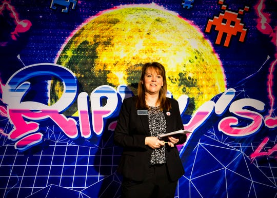 Suzanne DeSear, general manager of Ripley's Attractions in Gatlinburg, speaks inside the new Ripley's Super Fun Zone on the Parkway in Gatlinburg on Thursday, February 20, 2020.