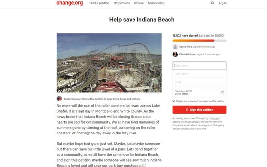 """A screenshot of a change.org petition started Wednesday to """"help save Indiana Beach"""" after the park suddenly closed Tuesday."""