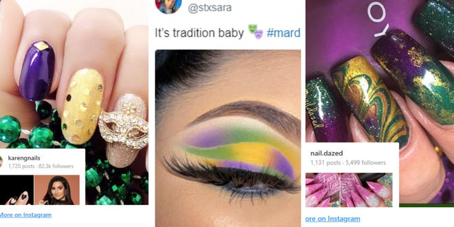 Screenshots of makeup and nails from Twitter and Instagram