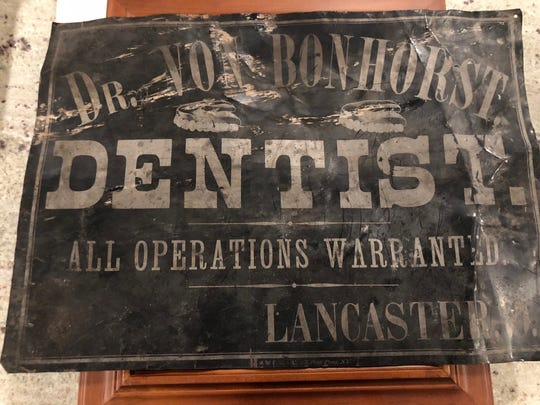 This metal sign was found under floorboards in The Mithoff during renovation.