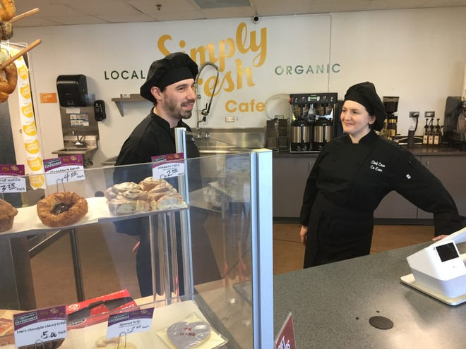 Simply Fresh Cafe co-executive chefs Zach Clark and Cece Bright talk about the menu at the newly opened organic cafe and eatery, Thursday, Feb. 20, 2020. Simply Fresh Market took over an existing cafe in 2|42 Community Church's Community Center in Genoa Township near Brighton.