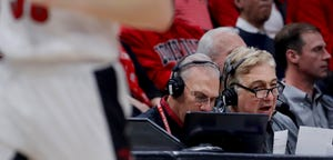 Louisville radio announcers Bob Valvano, right, and Paul Rogers during the game against Syracuse on Feb.19, 2020.