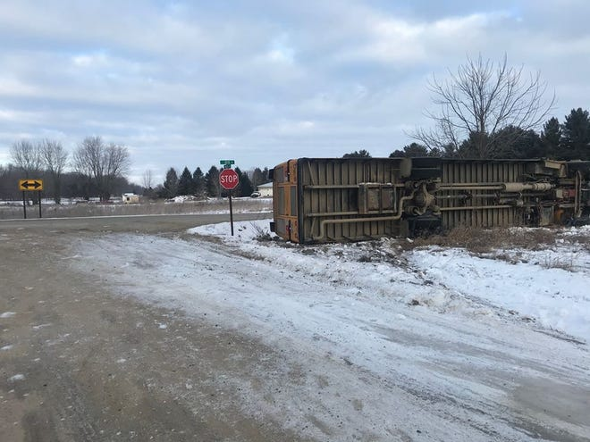 A school bus carrying seven Potterville School District students rolled over in Benton Township at 7:20 a.m. Feb. 20.