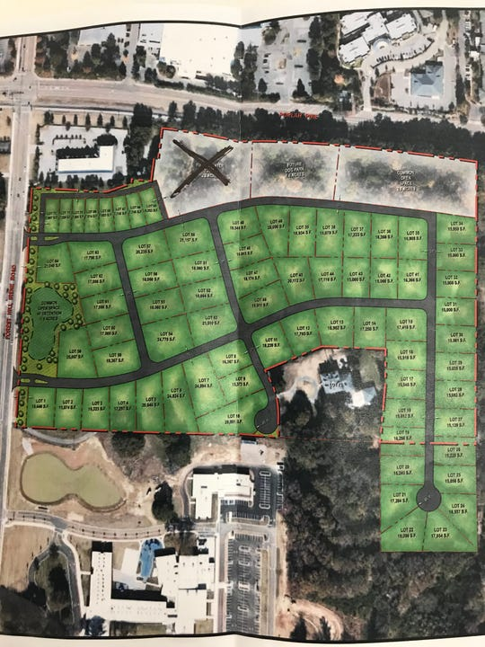 "This map shows the Wilder Planned Development and Forest Hill Heights Elementary School. A black ""X"" marks the area where a future elevated water tower could go."