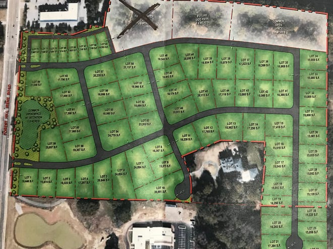 """This map shows the Wilder Planned Development and Forest Hill Heights Elementary School. A black """"X"""" marks the area where a future elevated water tower could go."""