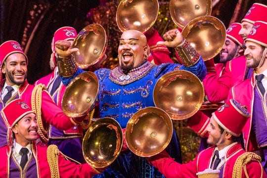"From out of the lamp and onto the stage of the Orpheum: Korie Lee Blossey as the genie in ""Disney's Aladdin."""