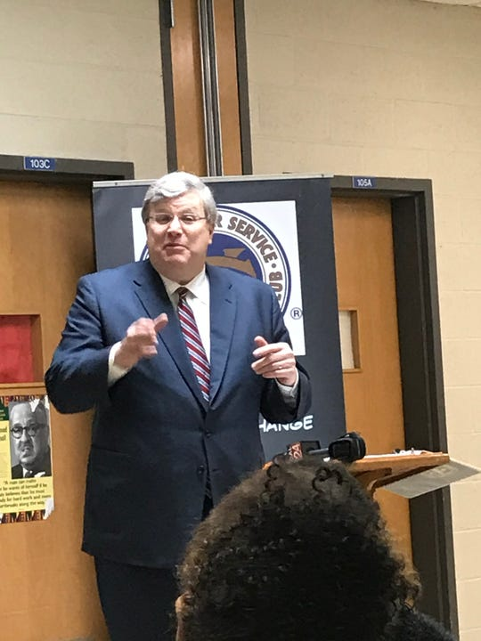 Memphis Mayor Jim Strickland addresses the crowd at Frayser Exchange Club on February 20, 2020
