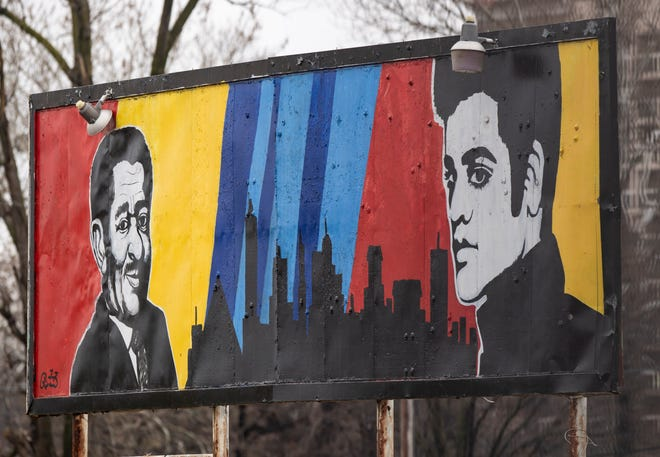 A mural still stands at the Union Row project site in Downtown Memphis on Feb. 20, 2020.