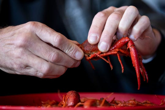 Jean-Paul Gandy demonstrates how to peel and eat crawfish Wednesday, Feb. 19, 2020, at Crossroads Seafood in Hernando.