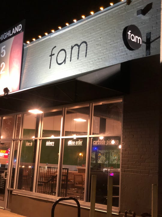 The new Fam restaurant on South Highland Street. It's the second restaurant for the Memphis restaurant group.