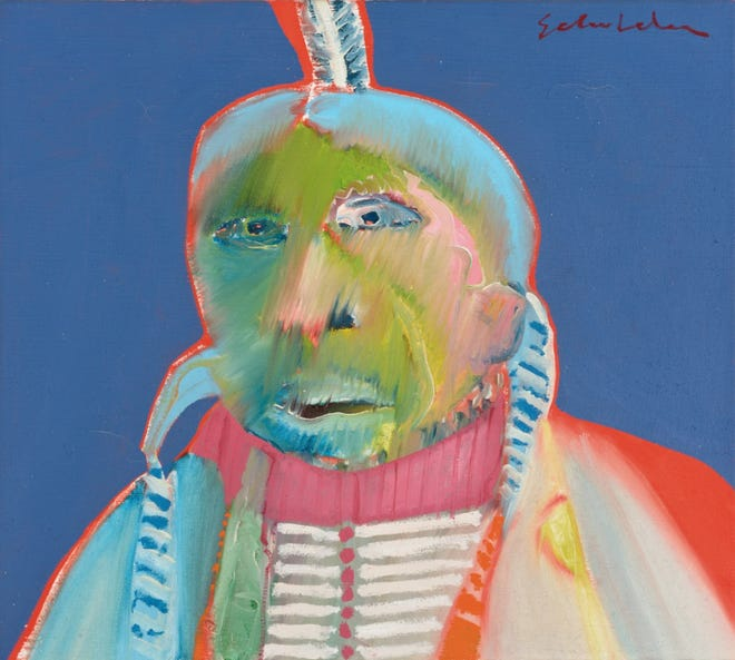 """Fritz Scholdern's 1968 painting """"Monster Indian"""" is among the works on display at a new Memphis Brooks Museum of Art exhibition highlighting Native American artists."""