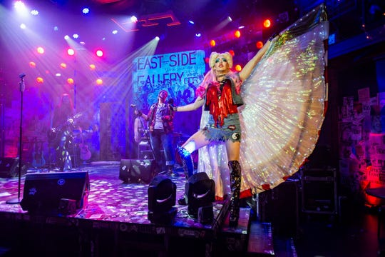 """Milwaukee Rep's """"Hedwig and the Angry Inch."""" Left to right: Maxwell Emmet, Bethany Thomas and Matt Rodin."""