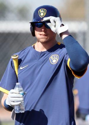 Justin Smoak heads to batting practice Wednesday.