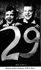 This photo of Marianne and Bruce Zuckerman appeared in the MIlwaukee Journal on Feb. 29, 1944, when the siblings were celebrating their 1st and 2nd Leap Day birthdays respectively.