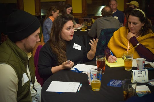 "A ""listening circle"" in action. The discussion at each table is moderated by a facilitator trained by Zeidler Group.  This discussion occurred at a 2018 event cosponsored by the Journal Sentinel, Zeidler, WUWM and the Millennial Action Project."