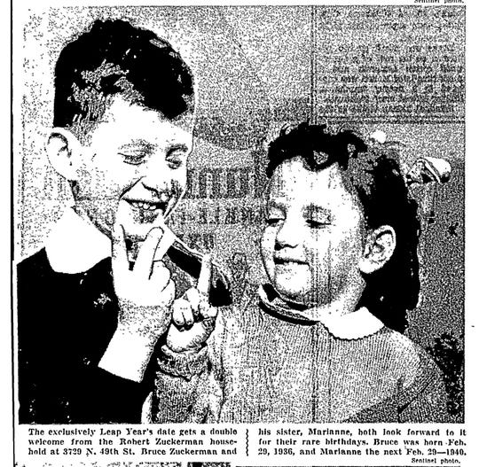 This photo of Bruce and Marianne Zuckerman appeared in the Milwaukee Sentinel on Feb. 29, 1944, when the siblings were celebrating their 2nd and 1st Leap Day birthdays respectively.