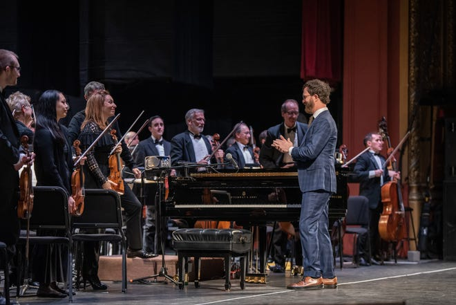 Ben Folds performs with the Milwaukee Symphony Orchestra at the Riverside Theater on Feb. 19, 2020.