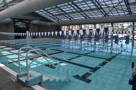 The indoor lap pool at the Batesville Community Center and Aquatic Park is seen in this Bulletin file photo. Batesville's combination community/aquatic center was completed several years ago and is often referenced when discussing Mountain Home's plan to build a similar structure.