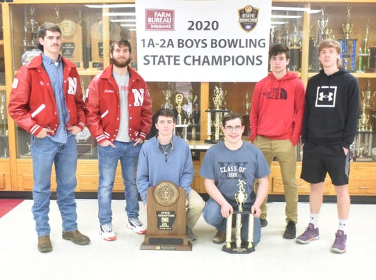 Norfork seniors (from left) Ty Rosson, Landon Byrd, Ethan Chapman, Brady Hamm, Tyler Sorters and Dawson Gray led the Panthers to their sixth boys' bowling state championship.