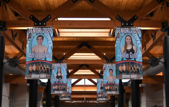 Banners for the seniors on the Batesville High School swim team are seen hanging from the rafters of the Batesville Community Center and Aquatic Park on Wednesday. The team uses the Aquatic Center as its home pool.