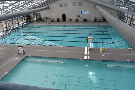 The indoor lap pool and heated therapy pool are seen Wednesday morning at the Heber Springs Community Aquatics and Conference Center.