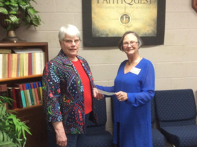 The Holy Cross Lutheran Church Women of the ELCA recently donated $500 to Hope For All for the homeless in Mountain Home.  Anyone wishing further information on the program can call 1-833-HOPE4ALL. Pictured above are (from left) Roberta Dulaney, WELCA vice-president; and Carolyn Densmore, Hope For All president.