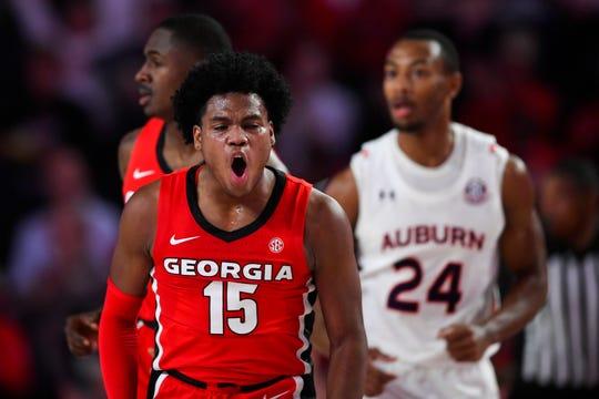 Georgia guard Sahvir Wheeler (15) reacts after scoring against Auburn during the first half of an NCAA college basketball game Wednesday, Feb. 19, 2020, in Athens, Ga. (AP Photo/John Amis)