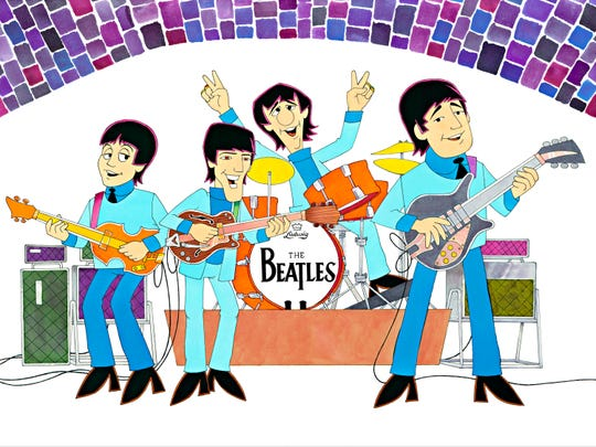 """Artwork of """"The Beatles"""" Saturday morning cartoon by longtime animator Ron Campbell, who will be in Montgomery on Feb. 21-23 at Stonehenge Gallery."""