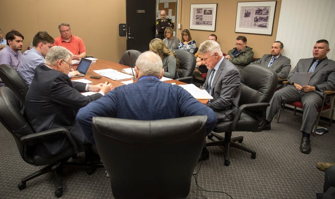 The Delaware County Election Board holds a hearing on candidate challenges on Feb. 20, 2020. Four candidates were removed from local ballots going into the spring primary.