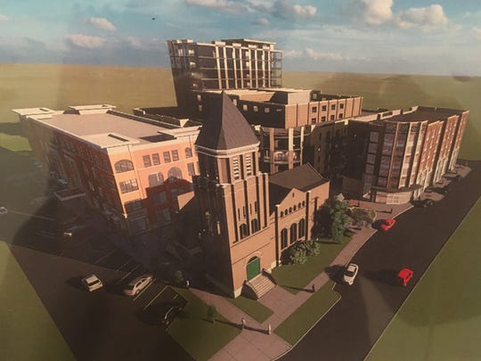 This rendering shows the One East College mixed-use redevelopment plan for the historic former First United Methodist Church in downtown Murfreesboro.