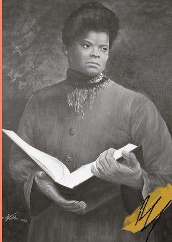 A painting of Ida B. Wells-Barnett by Larry Walker, 1994.