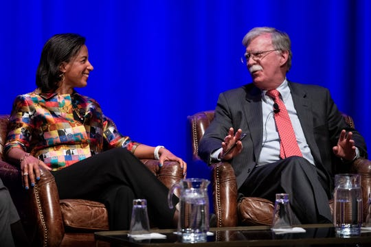 Former National Security Advisors and Ambassadors to the United Nations Susan Rice and John Bolton speak during the Vanderbilt Chancellor's Lecture Series event at Vanderbilt University's Langford Auditorium in Nashville, Tenn., Wednesday, Feb. 19, 2020.