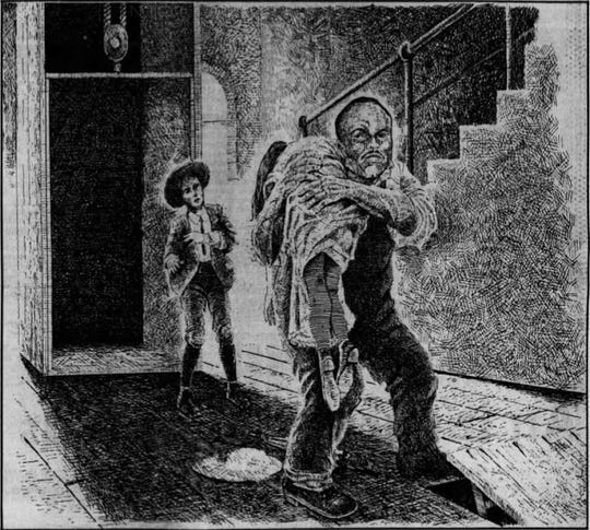 An artist's interpretation of the confrontation between Alonzo Mann, then 14, and Jim Conley, holding the limp form of Mary Phagan on the first floor of the National Pencil Co. This drawing appeared in the March 7, 1982, edition of The Tennessean.