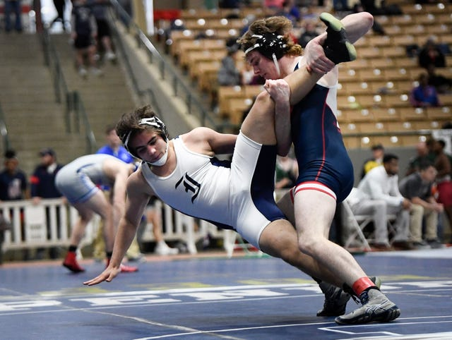 Independence's Gabriel Hill is slammed to the mat by Jefferson Co.'s Hunter Bryant during the TSSAA individual wrestling state championships at Williamson Co. Ag Center Thursday, Feb. 20, 2020 in Franklin, Tenn.