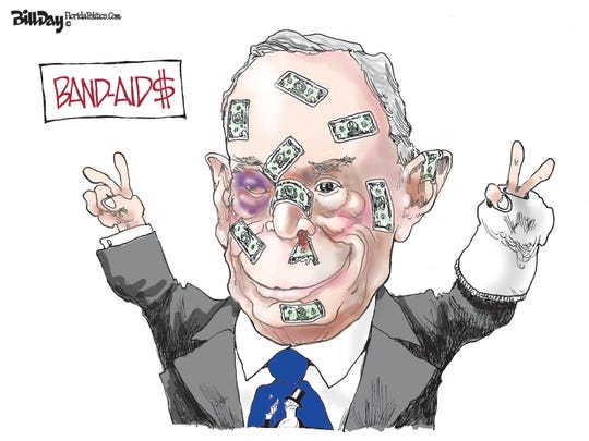 Bloomberg's Band-Aids after debate.