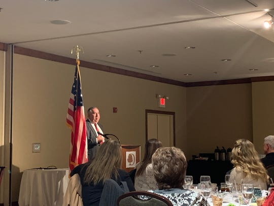 Republican candidate for Licking County Juvenile Court Judge Christopher Strefelt addresses a small crowd at the Licking County Republican Women's Meet the Candidates Night at the Newark DoubleTree Hotel on Wednesday, Feb. 19, 2020.