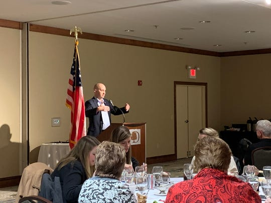 Republican candidate for Licking County Treasurer Kevin Black addresses a small crowd at the Licking County Republican Women's Meet the Candidates Night at the Newark DoubleTree Hotel on Wednesday, Feb. 19, 2020.