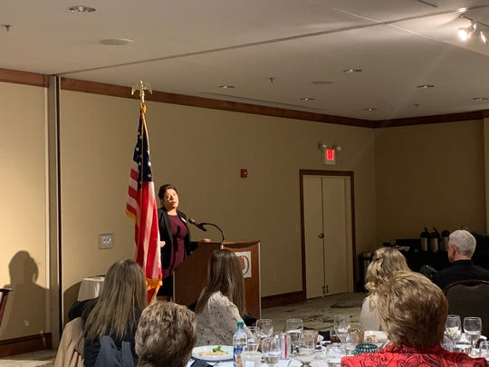 Republican candidate for Licking County Juvenile Court Judge Deborah Lang addresses a small crowd at the Licking County Republican Women's Meet the Candidates Night at the Newark DoubleTree Hotel on Wednesday, Feb. 19, 2020.
