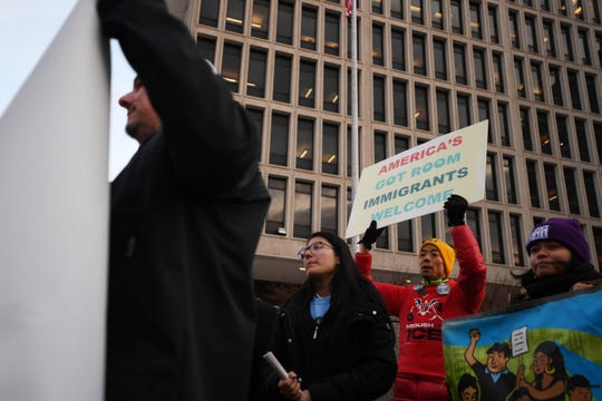 The federal government is deploying law enforcement tactical units from the southern border to participate in immigration enforcement in sanctuary cities, including Newark. Immigrant advocates protest the use of these units as well as the latest expansion to the travel ban outside of the Peter Rodino Federal Building in Newark on Thursday, February 20, 2020.