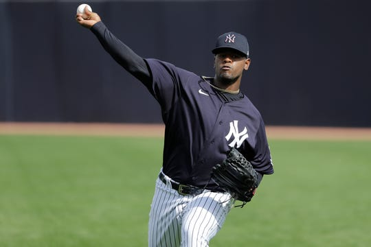 New York Yankees' Luis Severino during a spring training baseball workout Thursday, Feb. 13, 2020, in Tampa, Fla.