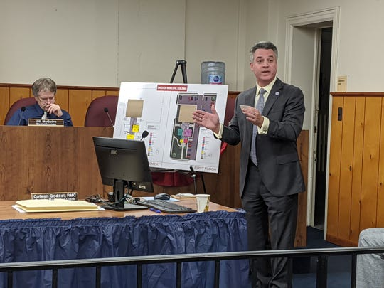 Borough Architect Kevin Settembrino presents plans for an addition to Emerson Borough Hall in November 2019.
