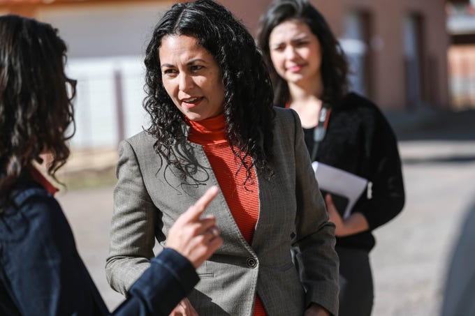 Congresswoman Xochitl Torres Small holds a press conference on NMSU campus to announce her intention to seek to fill the vacancy on the House Agriculture Committee on Thursday, Feb. 20, 2020.