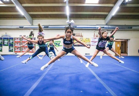 The Lightning Queens cheer team practice at the Cruces Cheer Storm gym in Las Cruces on Wednesday, Feb. 19, 2020.