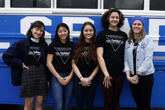 Left to right: Carlsbad's 200 medley relay team of Isabella Corder, Zoe Char, Sophia Corder, Izabella Morgan and coach Kerry Smith pose on Feb. 20, 2020 before heading out to the state meet in Albuquerque.