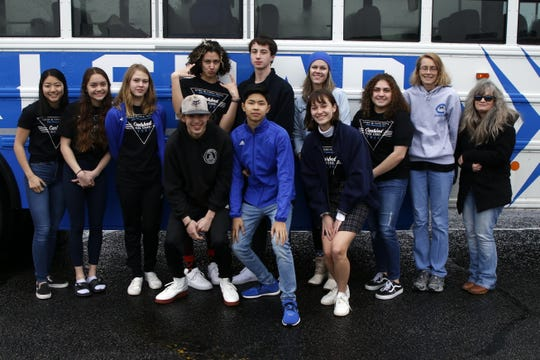 The Carlsbad swim team poses on Feb. 20, 2020 before getting on a bus and heading to the state swimming meet. Carlsbad finished the state meet with eight Top-15 finishes and looks to build upon that success next season.