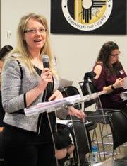 Audrey Jaramillo of Jaramillo Accounting Group presents the Alamogordo Public Schools 2019 regular audit at the APS Board of Education regular meeting Feb. 19.