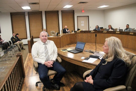 APS Chief of Capital Outlay and Facilities Justin Burks and APS Deputy Superintendent of Operations Colleen Tagle at the APS Board of Education regular meeting Feb. 19 where the Alamogordo Public Schools 2019 regular audit was discussed.