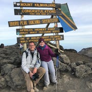 Sara Sarafa and her brother David at the top of Mount Kilimanjaro.