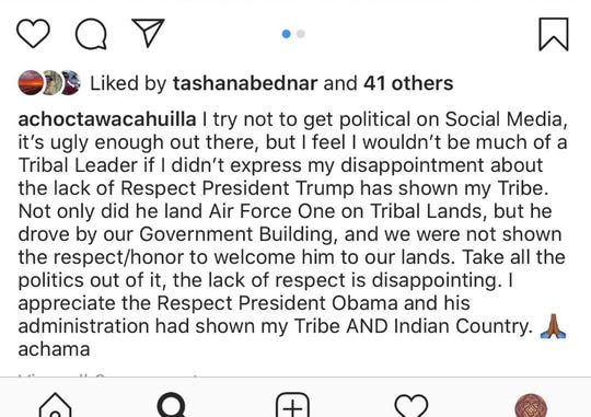 A screenshot of an Instagram post by Agua Caliente Band of Cahuilla Indians Chairman Jeff Grubbe that criticizes President Donald Trump for failing to acknowledge the tribe during his visit to the Coachella Valley Wednesday, Feb. 19, 2020. The post was made on the same day as Trump's visit.